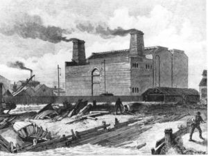 Deptford Power Station, built 1887 was the first major station to use high voltage AC current.